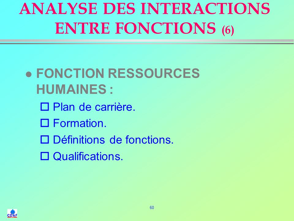 ANALYSE DES INTERACTIONS ENTRE FONCTIONS (6)