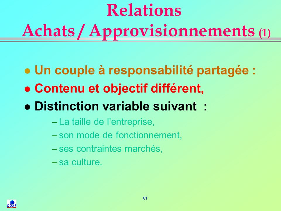 Relations Achats / Approvisionnements (1)