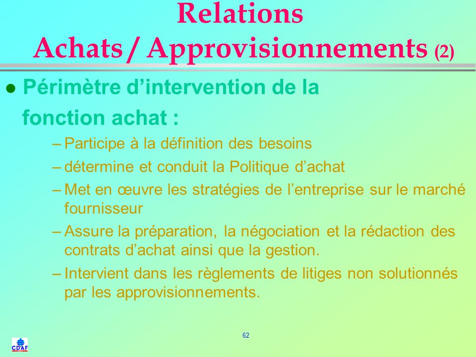 Relations Achats / Approvisionnements (2)