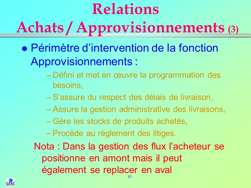 Relations Achats / Approvisionnements (3)