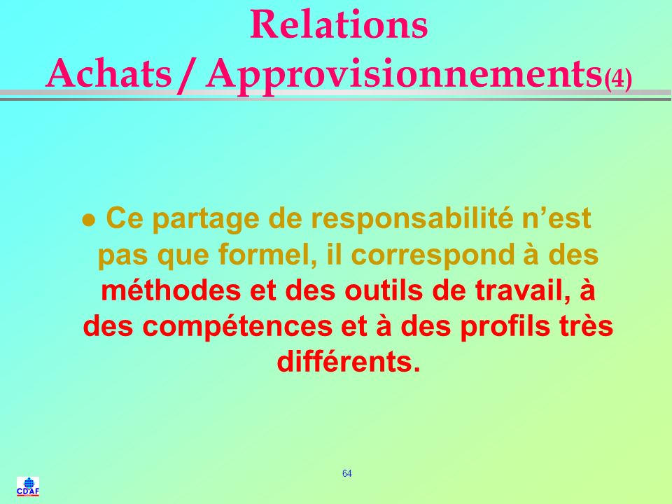 Relations Achats / Approvisionnements(4)