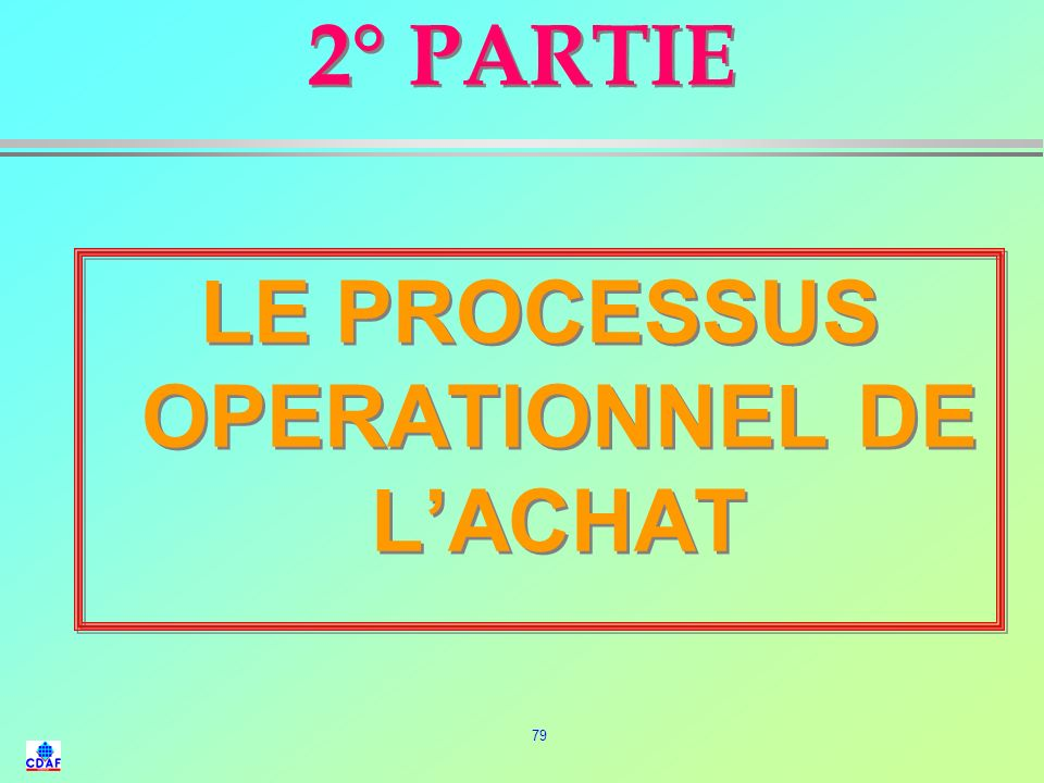 LE PROCESSUS OPERATIONNEL DE L'ACHAT