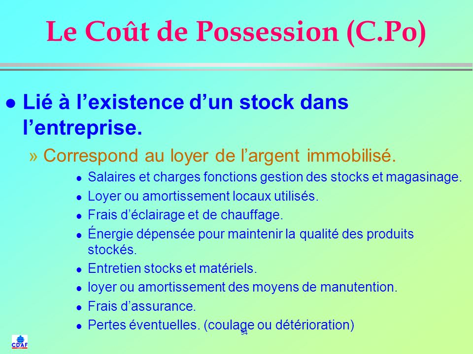 Le Coût de Possession (C.Po)