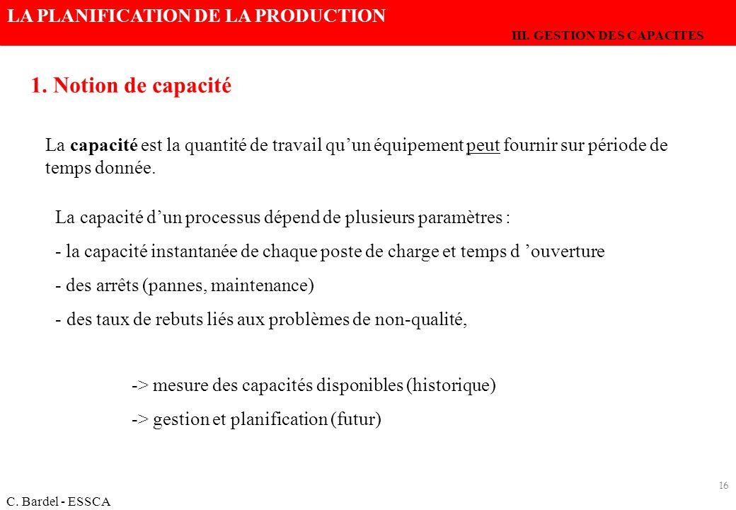 III. GESTION DES CAPACITES