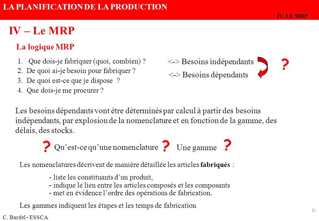 IV – Le MRP La logique MRP <-> Besoins indépendants