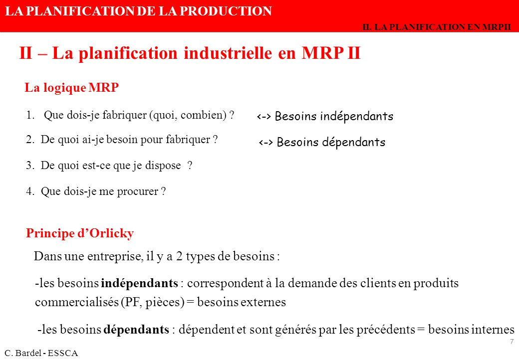 II – La planification industrielle en MRP II
