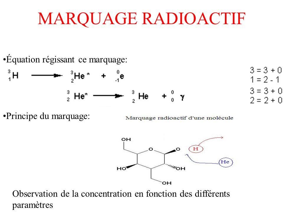 MARQUAGE RADIOACTIF Équation régissant ce marquage: