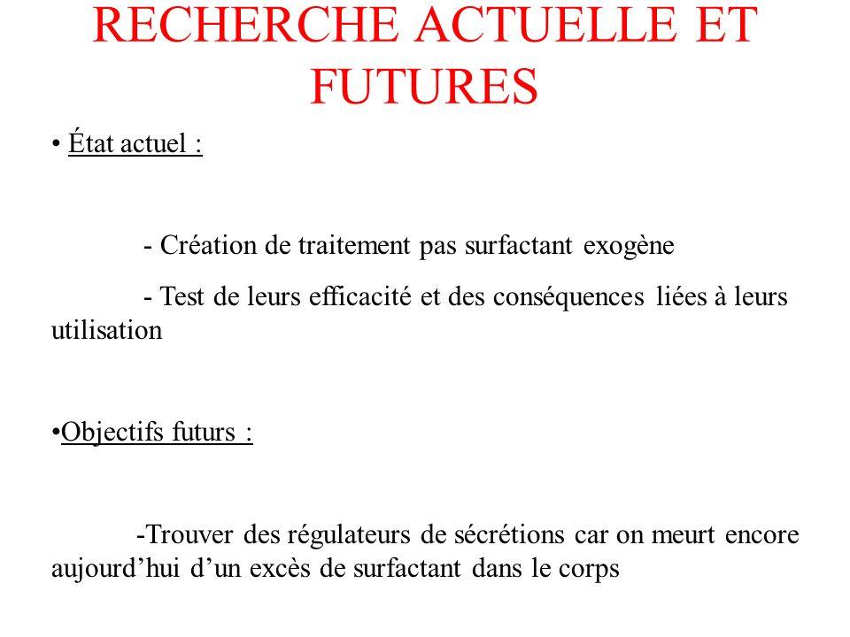 RECHERCHE ACTUELLE ET FUTURES