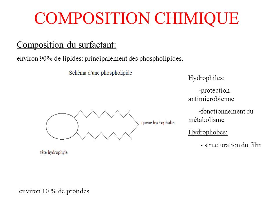 COMPOSITION CHIMIQUE Composition du surfactant: