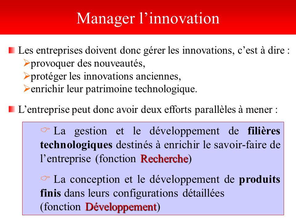 Manager l'innovation Les entreprises doivent donc gérer les innovations, c'est à dire : provoquer des nouveautés,