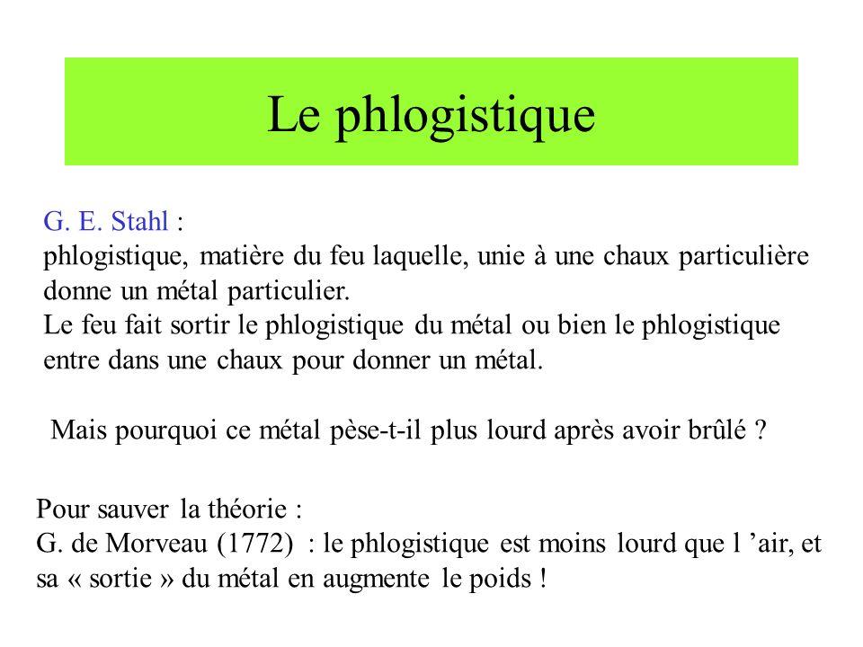 Le phlogistique G. E. Stahl :