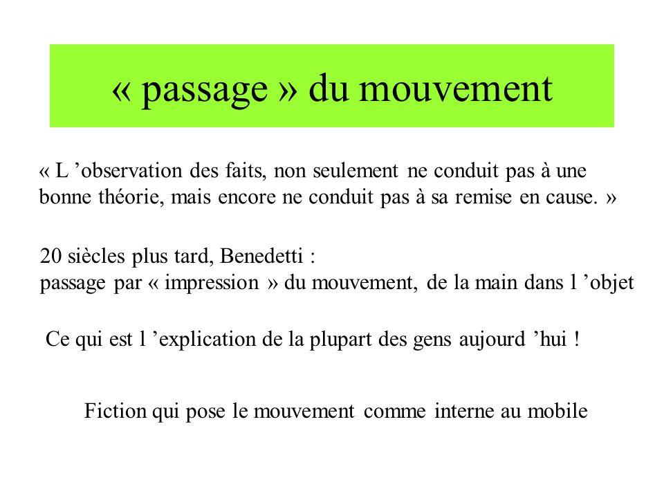 « passage » du mouvement