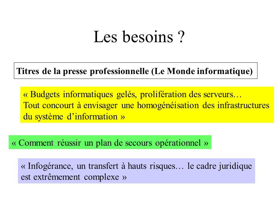 Les besoins Titres de la presse professionnelle (Le Monde informatique) « Budgets informatiques gelés, prolifération des serveurs…