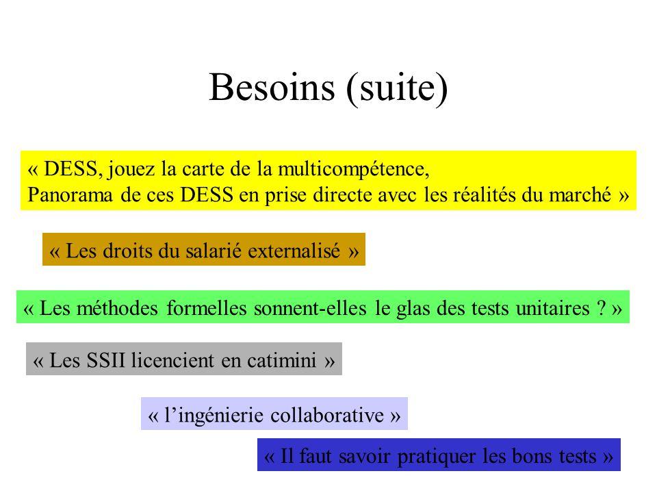 Besoins (suite) « DESS, jouez la carte de la multicompétence,