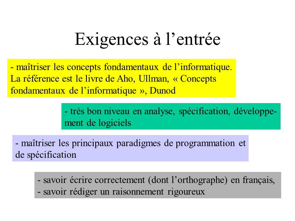 Exigences à l'entrée maîtriser les concepts fondamentaux de l'informatique. La référence est le livre de Aho, Ullman, « Concepts.