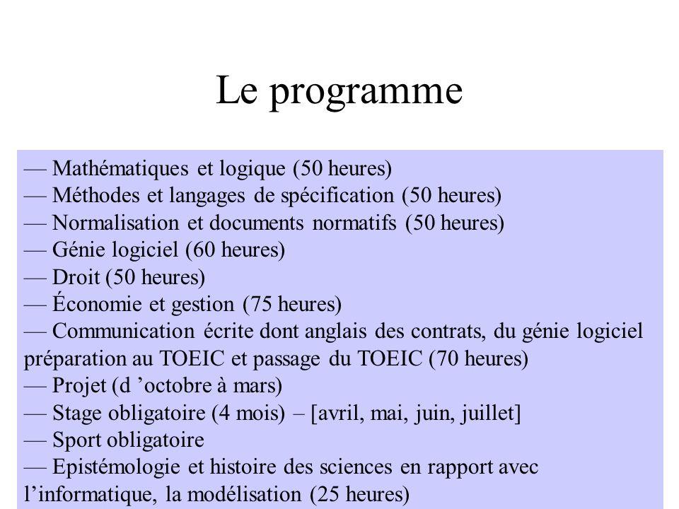 Le programme — Mathématiques et logique (50 heures)