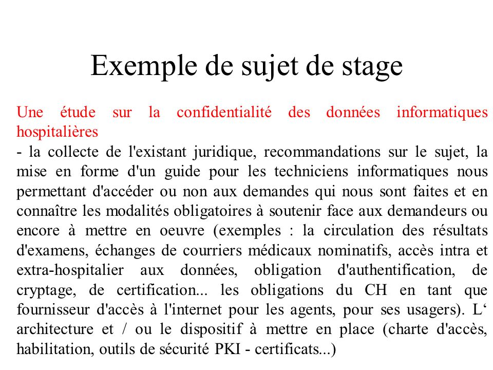 Exemple de sujet de stage