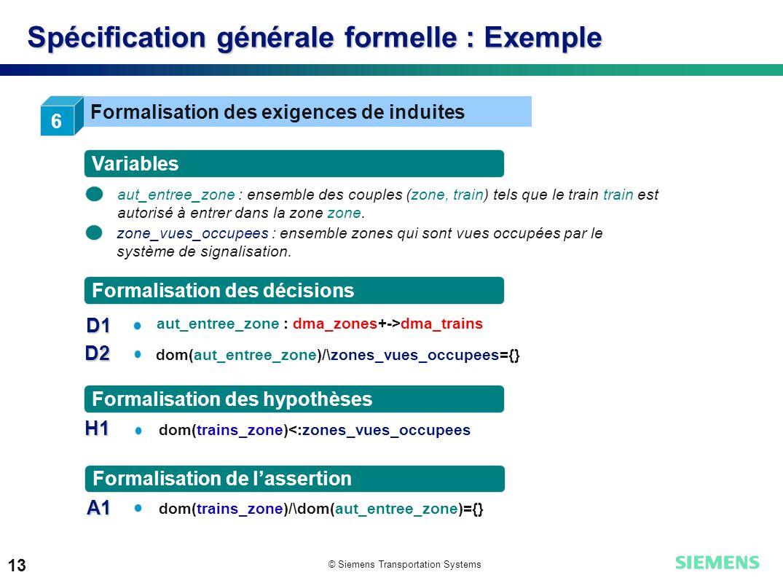 Spécification générale formelle : Exemple