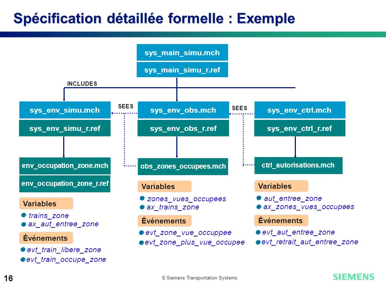 Spécification détaillée formelle : Exemple