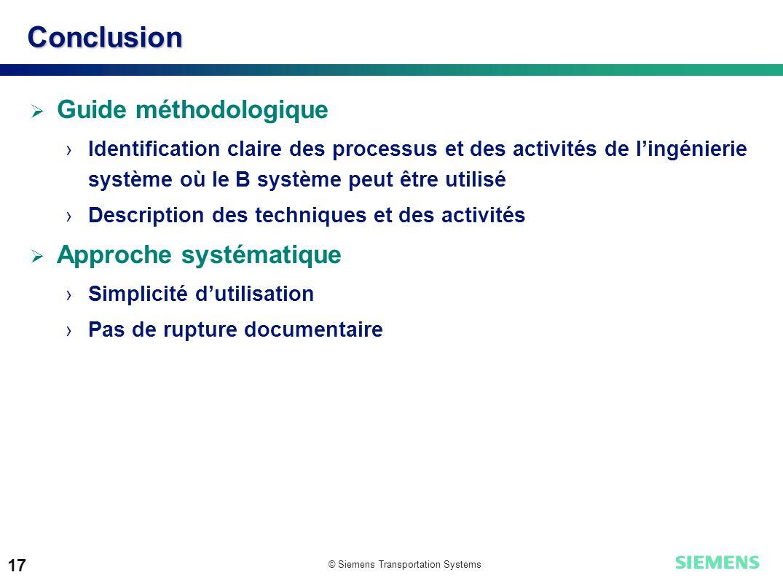 Conclusion Guide méthodologique Approche systématique