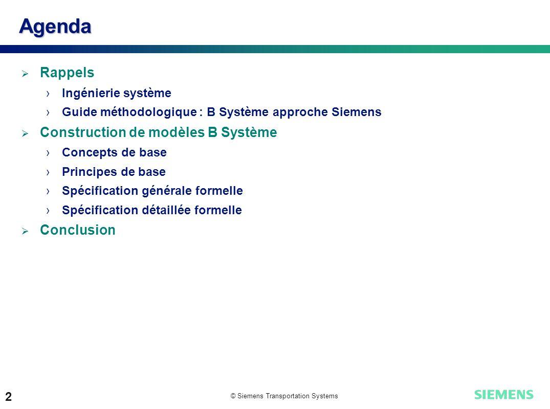 Agenda Rappels Construction de modèles B Système Conclusion