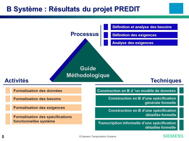 B Système : Résultats du projet PREDIT