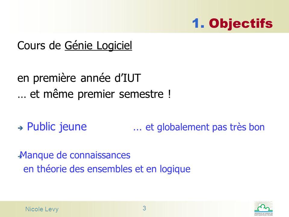 1. Objectifs Cours de Génie Logiciel en première année d'IUT