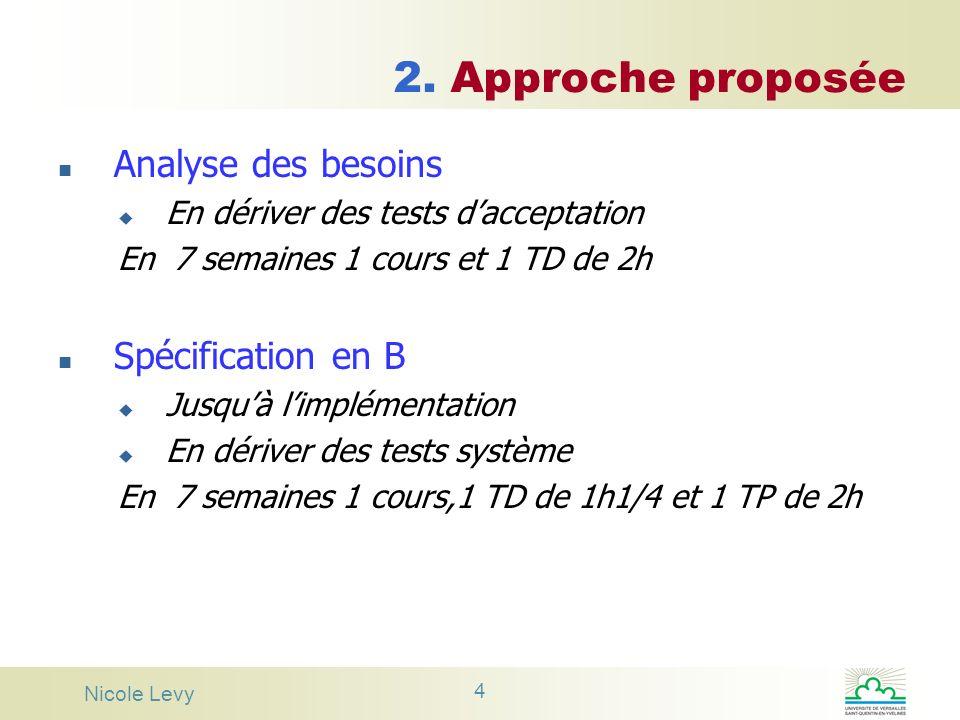 2. Approche proposée Analyse des besoins Spécification en B