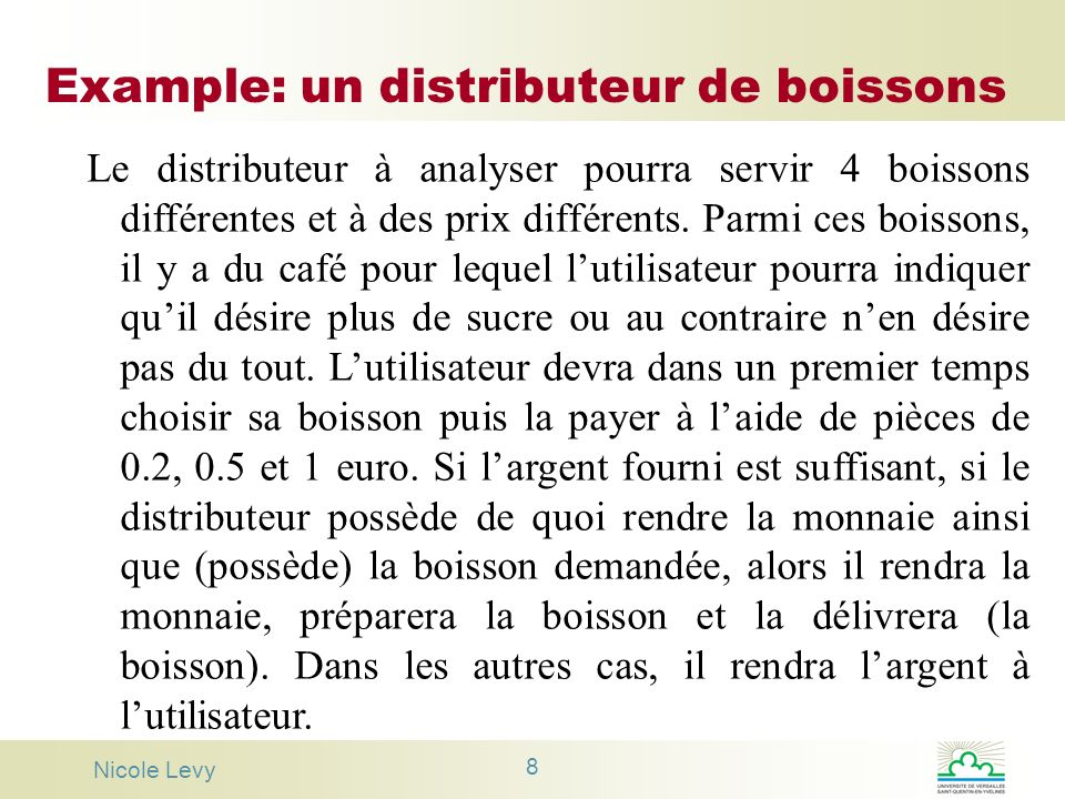 Example: un distributeur de boissons