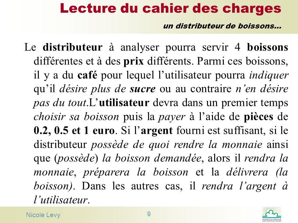 Lecture du cahier des charges un distributeur de boissons...