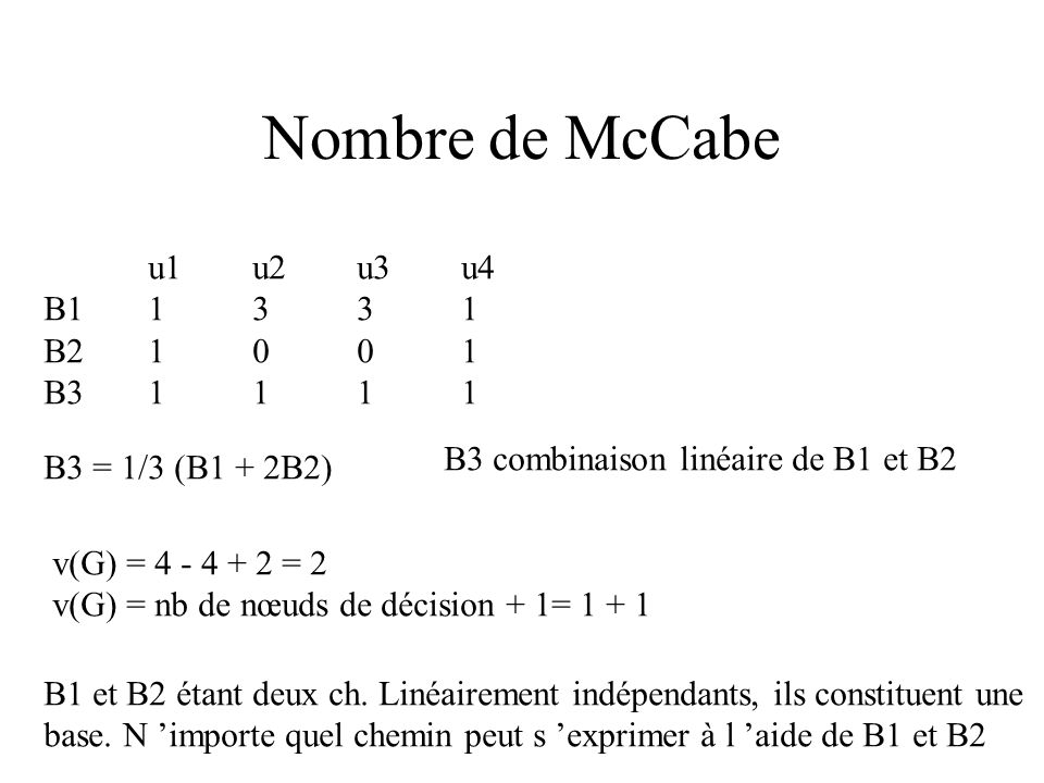Nombre de McCabe u1 u2 u3 u4 B1 1 3 3 1 B2 1 0 0 1 B3 1 1 1 1