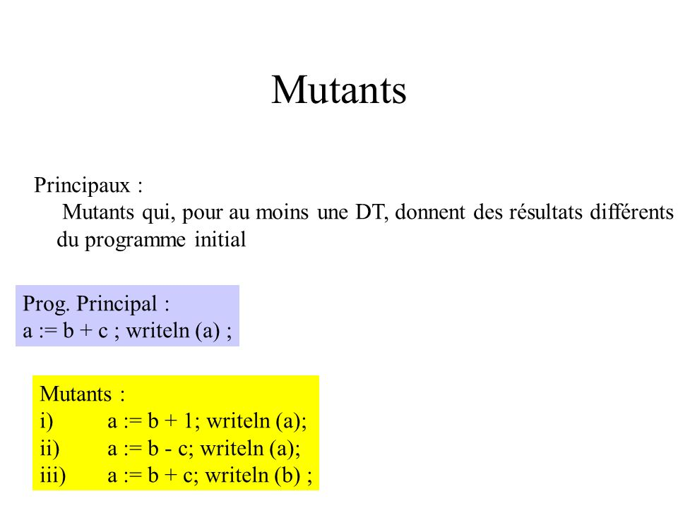 Mutants Principaux : Mutants qui, pour au moins une DT, donnent des résultats différents. du programme initial.