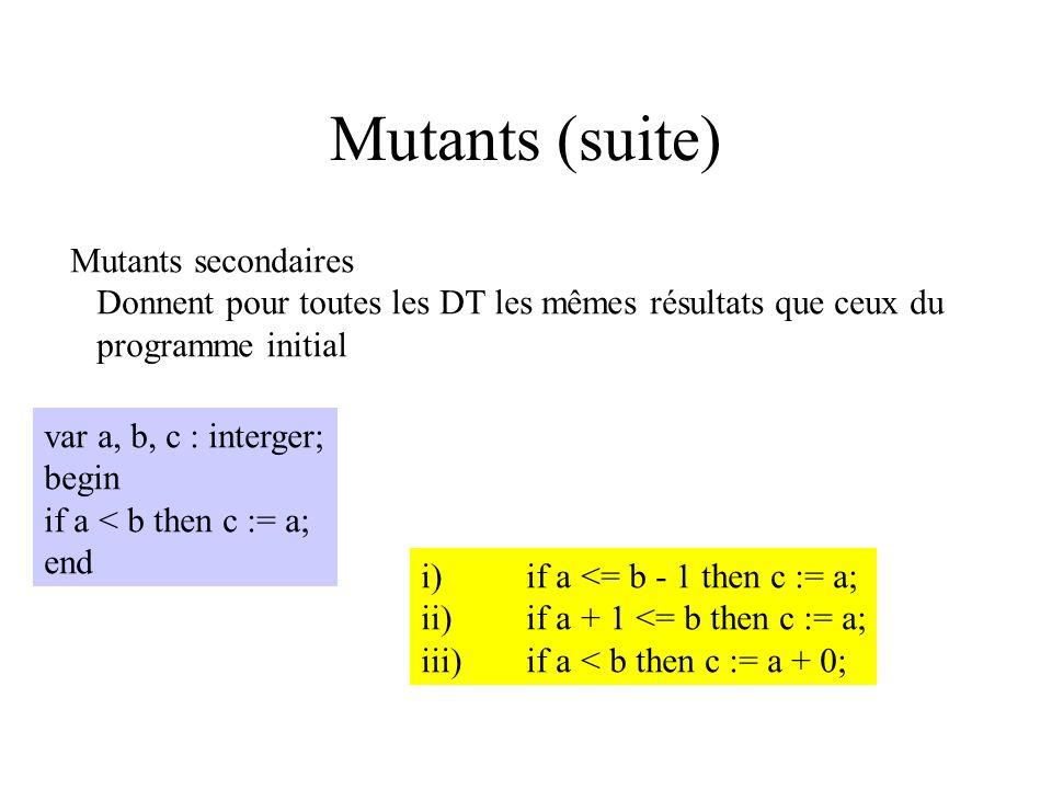 Mutants (suite) Mutants secondaires