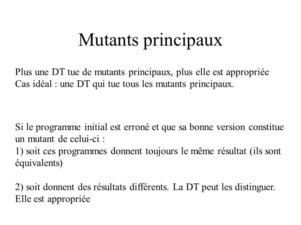 Mutants principaux Plus une DT tue de mutants principaux, plus elle est appropriée. Cas idéal : une DT qui tue tous les mutants principaux.