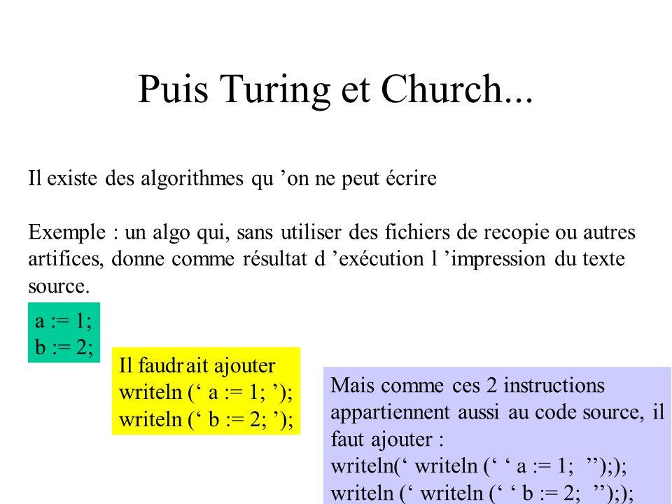 Puis Turing et Church... Il existe des algorithmes qu 'on ne peut écrire. Exemple : un algo qui, sans utiliser des fichiers de recopie ou autres.