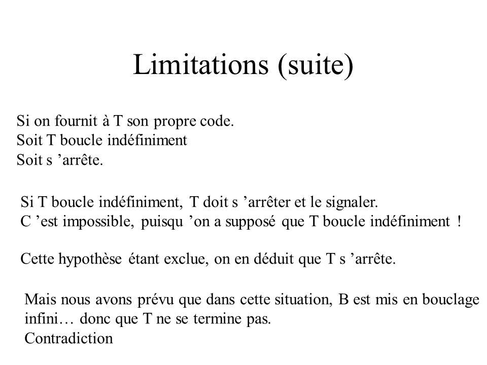 Limitations (suite) Si on fournit à T son propre code.