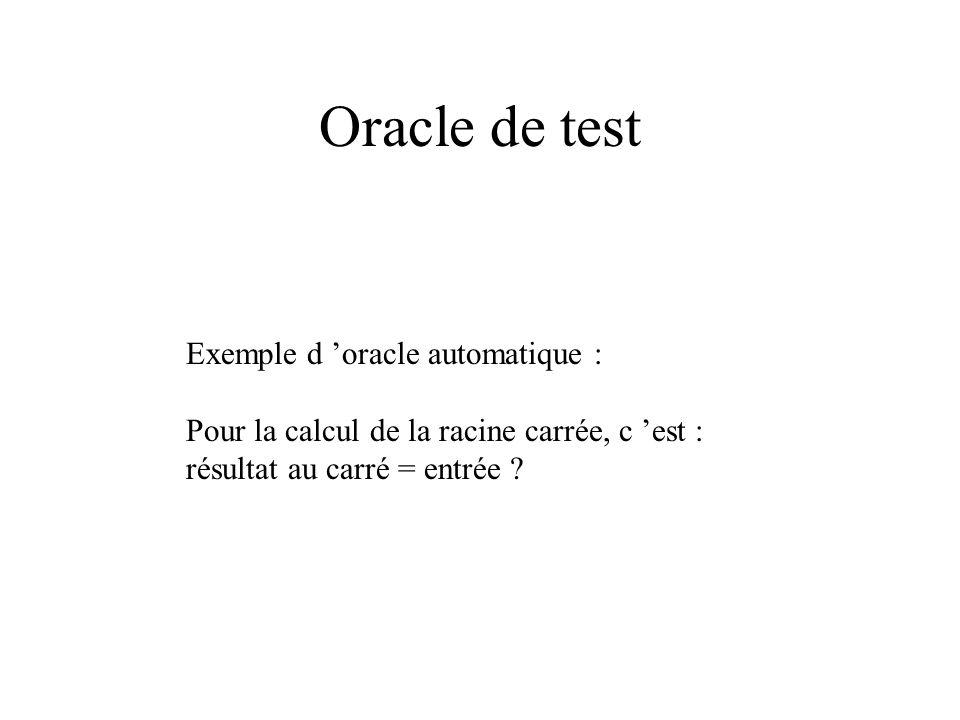 Oracle de test Exemple d 'oracle automatique :
