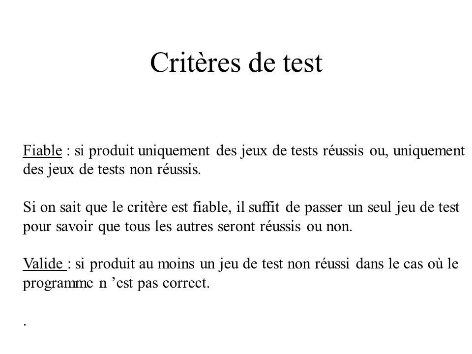 Critères de test Fiable : si produit uniquement des jeux de tests réussis ou, uniquement. des jeux de tests non réussis.