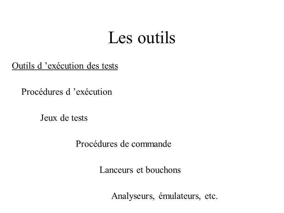 Les outils Outils d 'exécution des tests Procédures d 'exécution