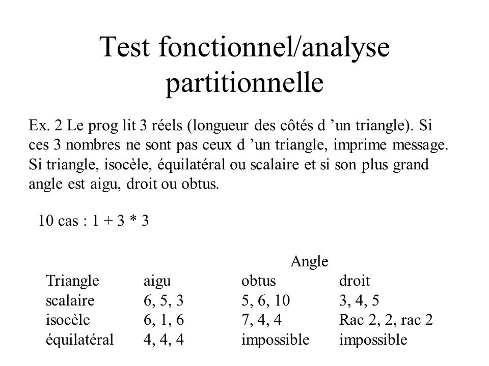 Test fonctionnel/analyse partitionnelle