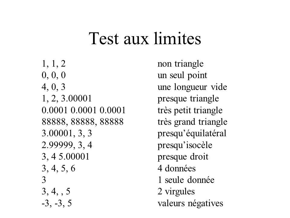 Test aux limites 1, 1, 2 non triangle 0, 0, 0 un seul point