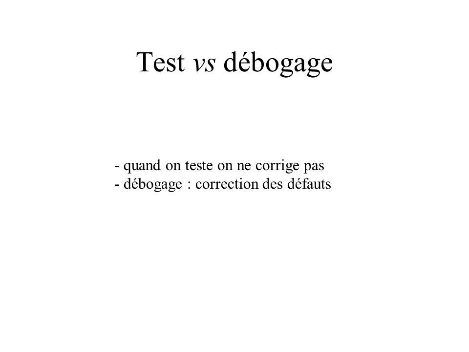 Test vs débogage - quand on teste on ne corrige pas
