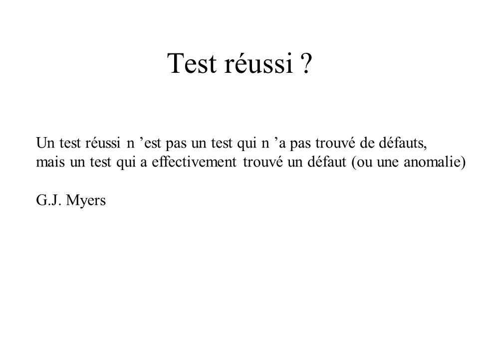 Test réussi Un test réussi n 'est pas un test qui n 'a pas trouvé de défauts, mais un test qui a effectivement trouvé un défaut (ou une anomalie)