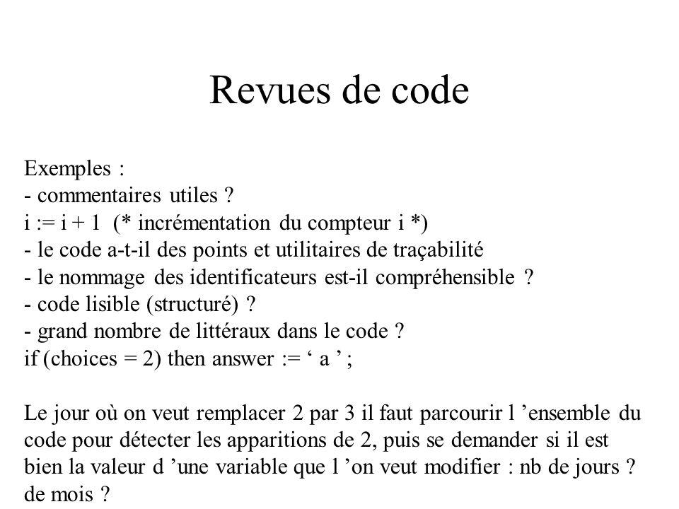 Revues de code Exemples : - commentaires utiles