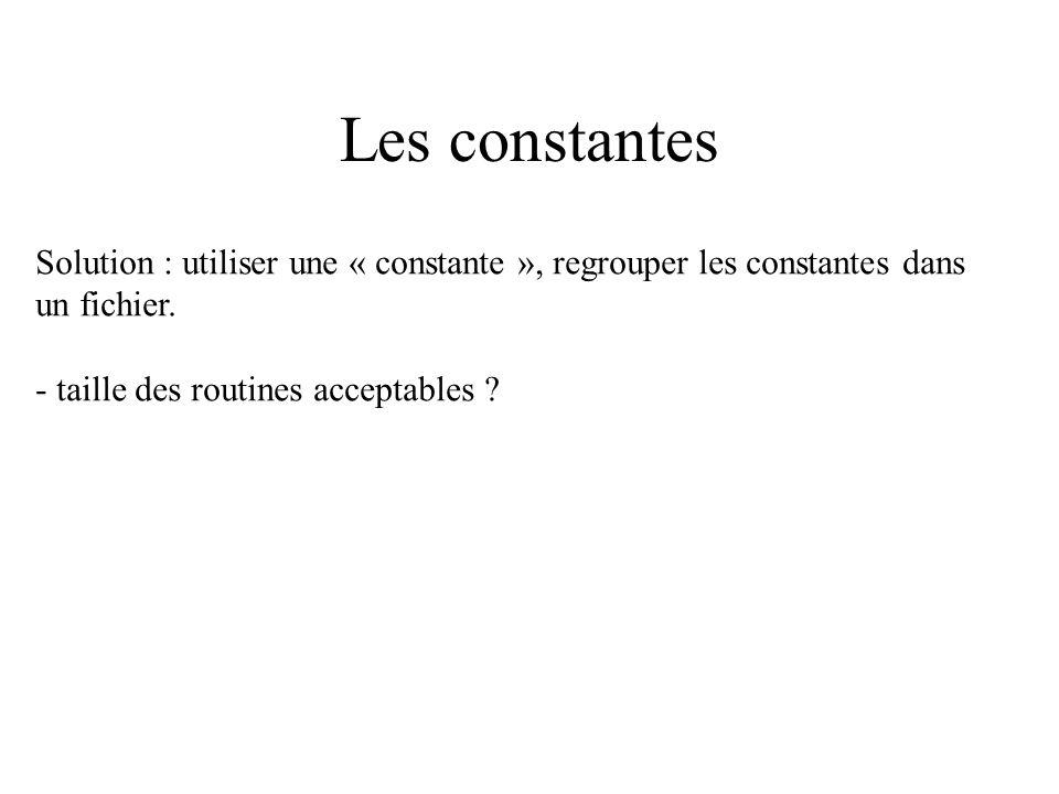 Les constantes Solution : utiliser une « constante », regrouper les constantes dans.