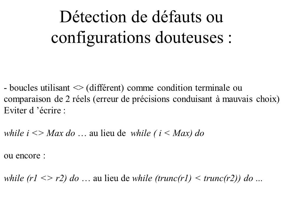 Détection de défauts ou configurations douteuses :