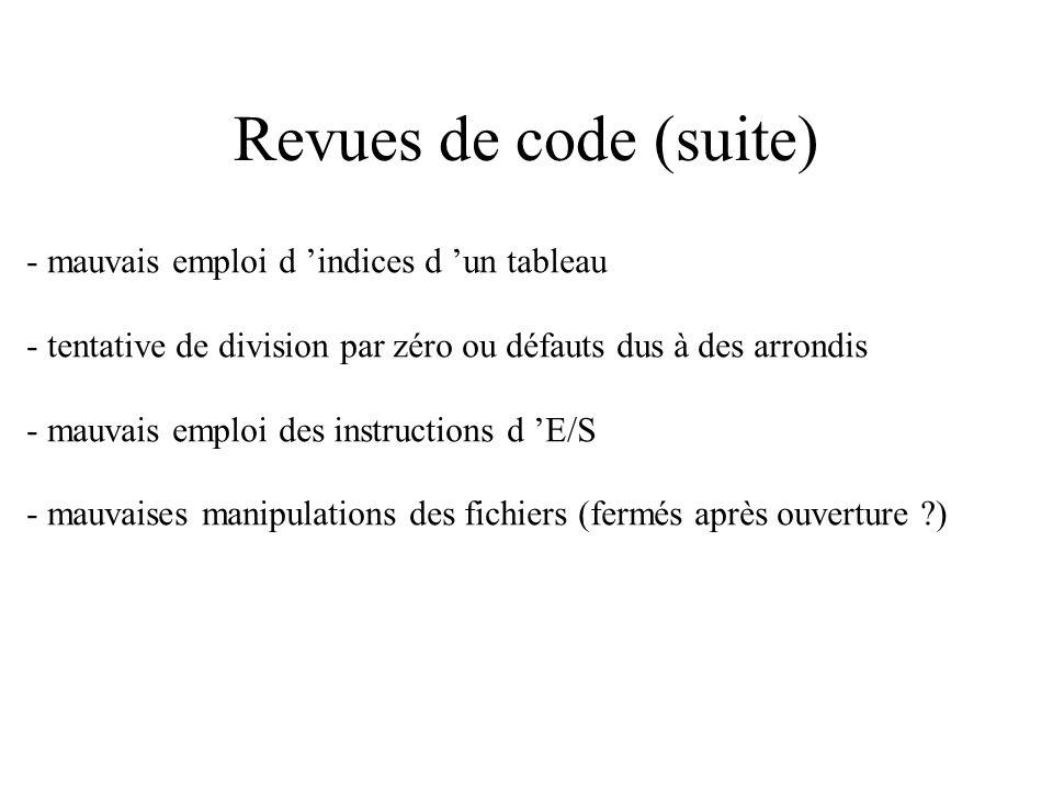 Revues de code (suite) - mauvais emploi d 'indices d 'un tableau
