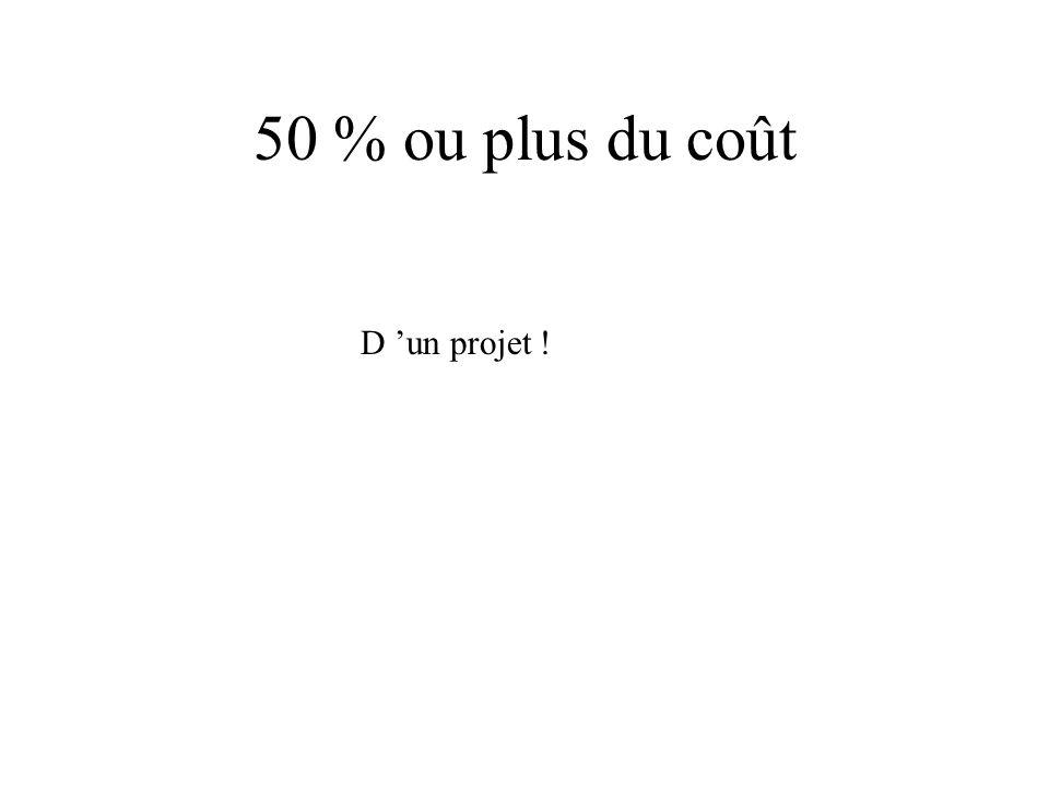 50 % ou plus du coût D 'un projet !