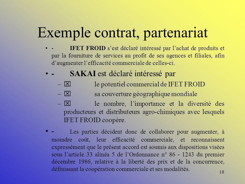 Exemple contrat, partenariat