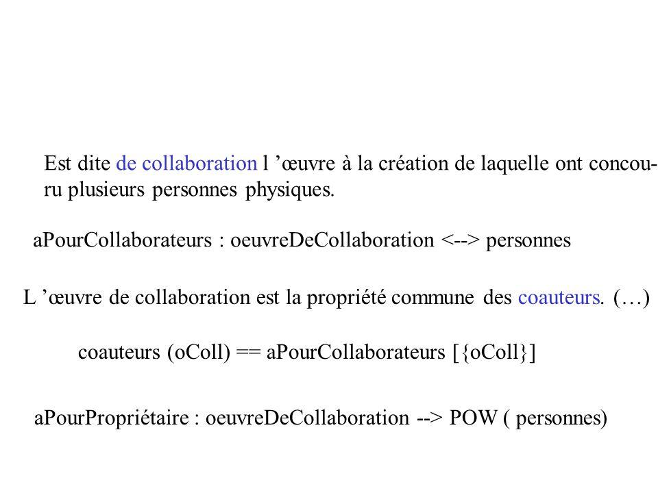 Est dite de collaboration l 'œuvre à la création de laquelle ont concou-